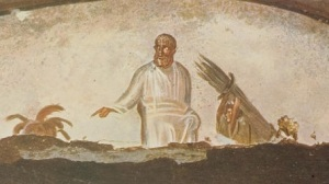 Isaac carry the wood of sacrifice. Roman catacombs.