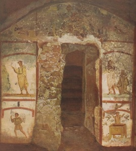 Moses strikes the Rock, Noah saved by the wood. Catacombs