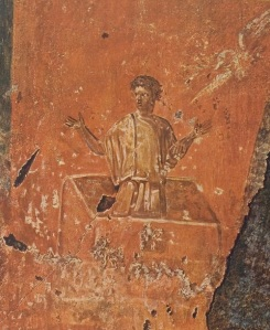 Noah saved by the wood of the ark. Roman catacombs