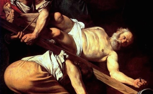 Caravaggio, Crucifixion of Saint Peter (1601), detail