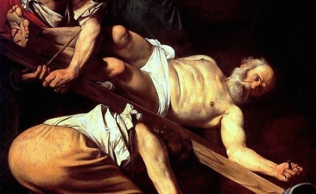 Caravaggio, Crucifixion of Saint Peter (1601), detail