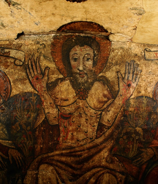 Christ displaying his wounds, The Doom Wall Painting c 1435 Holy Trinity Church, Coventry