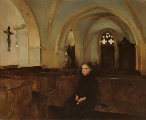 Orphan in Church by Pascal-Adolphe-Jean Dagnan-Bouveret (1852–1929)