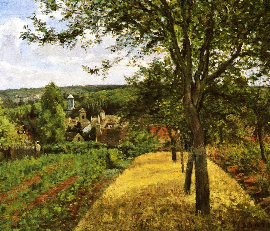 pissarro orchards at louveciennes 1872