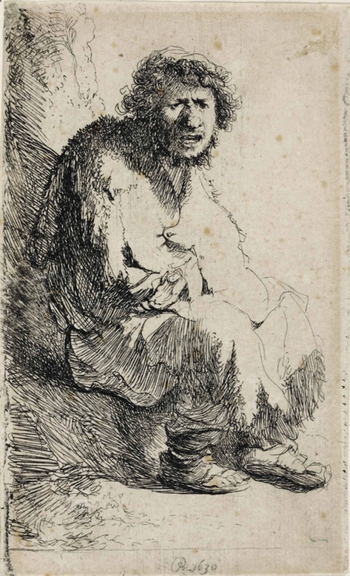 Rembrandt Begger Seated on a Bank (1630)