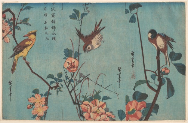 utagawa-hiroshige-titmouse-and-camellias-right-sparrow-and-wild-roses-center-and-black-naped-oriole-and-cherry-blossoms-left-ca-1833